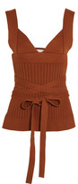 Victoria Beckham Open-back Ribbed-knit Stretch-cotton Wrap Top - Brown