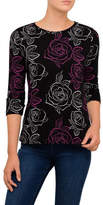 Armani Jeans Roses All Over Printed Longsleeve Top