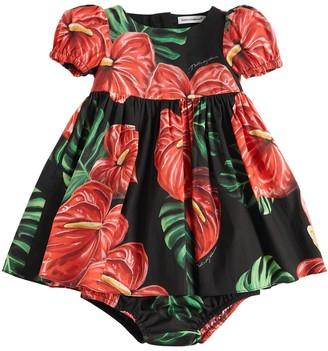 Dolce & Gabbana Printed Poplin Dress & Diaper Cover