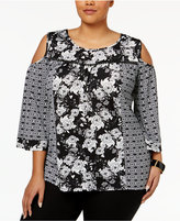 NY Collection Plus Size Mixed-Print Cold-Shoulder Top