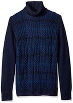 Calvin Klein Men's Ombre Stripe Cable Knit Turtleneck Sweater