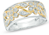 Zales 1/3 CT. T.W. Diamond Floral Band in 10K Two-Tone Gold