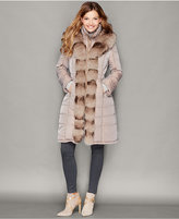 The Fur Vault Fox-Fur-Trim Quilted Puffer Coat