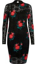 River Island Womens Black rose embroidered lace mini dress