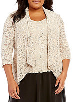 Alex Evenings Plus 3/4-Sleeve Lace Twinset