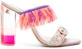 Sophia Webster Tweed Darla Mules in Orange,Pink,Purple.