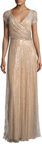 Jenny Packham Beaded Wrap-Front Cap-Sleeve Gown, Taupe