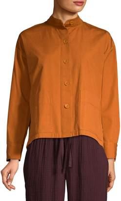 Eileen Fisher Stand-Collar Organic Cotton Canvas Jacket