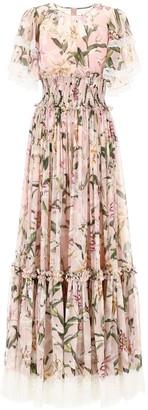Dolce & Gabbana Ruched Lily Print Maxi Dress