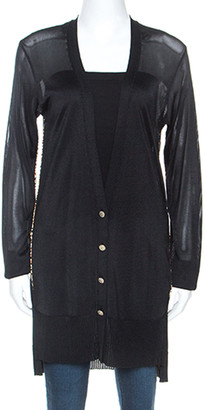 Just Cavalli Black Knit Printed Piping Detail Cardigan M