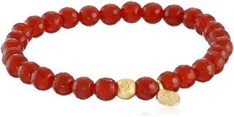 Satya Jewelry Carnelian Gold Plated Be Bold Om Lotus Stretch Bracelet