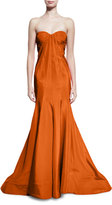 Zac Posen Strapless Faille Mermaid Gown, Tangerine
