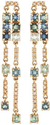 Xiao Wang 'Galaxy' diamond sapphire 18k gold earrings