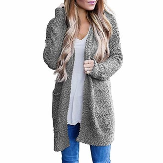 Rikay Women Sweater Rikay Cardigans for Women Knit Cardigan Open Front Cardigans Baggy Chunky Boyfriend Sweater Ladies Long Shawl 7 Colors Gray