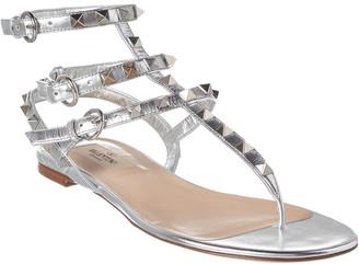 Valentino Rockstud Caged Metallic Leather Ankle Strap Sandal
