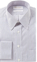 Roundtree & Yorke Gold Label Non-Iron Fitted Classic-Fit Point-Collar Striped Dress Shirt