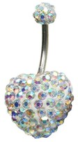 Women's Supreme JewelryTM Curved Barbell Belly Ring with Stones - Silver/Rainbow