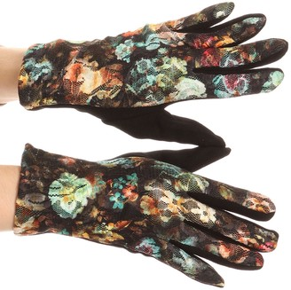 Sakkas GL171 - Emie Quilted and Lace Super Soft Warm Driving Gloves Touch Screen Capable - 17107-turq/multi - L/XL
