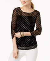 INC International Concepts Dot-Print Illusion Top, Created for Macy's