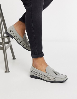 Brave Soul faux suede loafers in grey