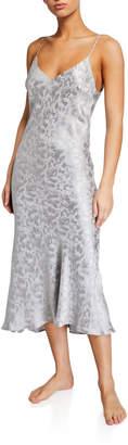Pour Les Femmes Silk Jacquard Midi Nightgown