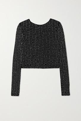 Alice + Olivia Delaina Embellished Tulle Top - Black