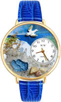 Whimsical Watches Personalized Footprints Womens Gold-Tone Bezel Blue Leather Strap Watch