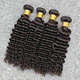Vinsteen Deep Wave Brazilian Hair 4pcs Unprocessed Brazilian Virgin Hair Deep Weave Human Hair Bundles Can Be Dyed (22 22 24 24)