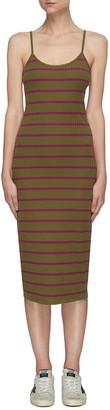 Ninety Percent Stripe ribbed cotton cami dress