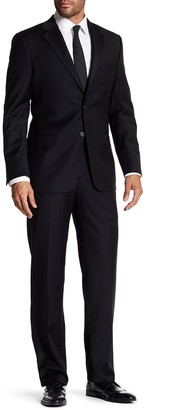 Hickey Freeman Black Solid 2-Button Notch Lapel Classic Fit Wool Suit