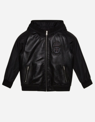 Dolce & Gabbana Hooded Bomber Jacket In Leather And Nylon With Logo Patch
