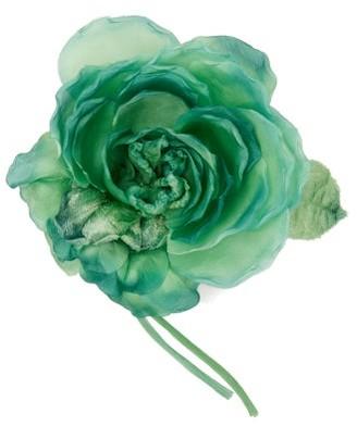 Alessandra Rich Peony Silk Brooch - Womens - Green