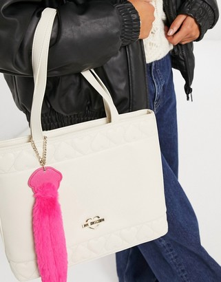 Love Moschino embossed hearts large tote bag in ivory