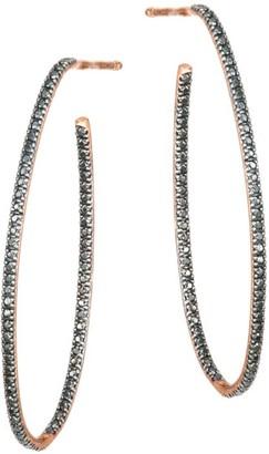 ginette_ny 18K Rose Gold & Black Diamond Large Ellipse Hoop Earrings