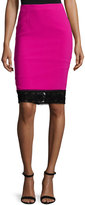 Andrew Gn Lace-Trim Crepe Pencil Skirt, Fuchsia