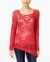 INC International Concepts Asymmetrical Lace-Up Sweater, Only at Macys