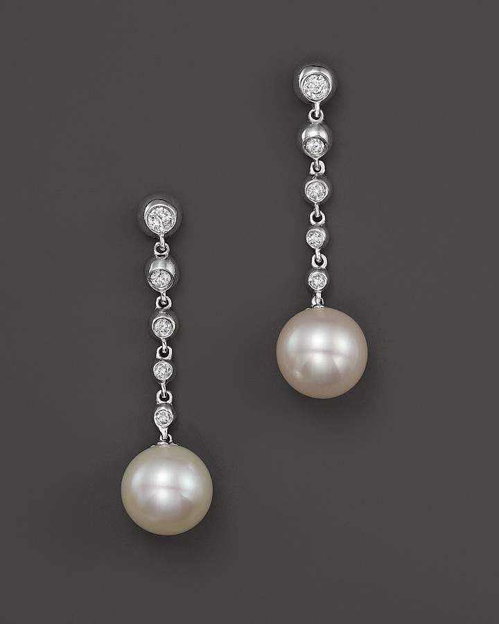 Bloomingdale's Cultured Freshwater Pearl Drop Earrings with Diamonds in 14K White Gold, 8mm