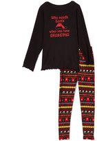 Beary Basics Black & Red 'Who Needs Santa' Tee & Leggings - Toddler & Girls