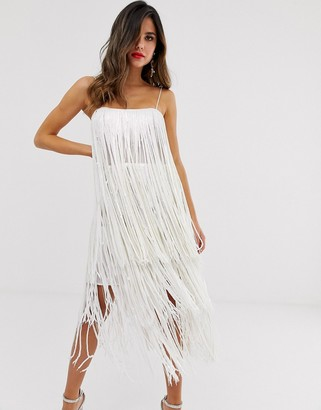 Asos Design DESIGN tiered midi dress in fringe sequin