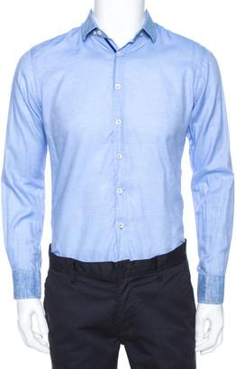 Etro Blue Cotton Linen Trim Detail Button Down Shirt M