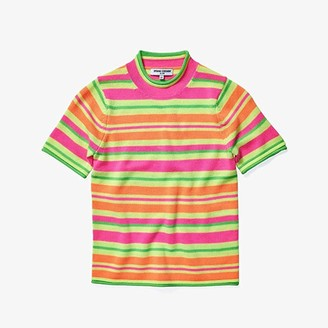 Opening Ceremony Short Sleeve Fluo Knit Sweater (Fluo Multi) Women's Clothing