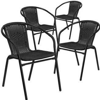 Three Posts Abrahamic Stacking Patio Dining Chair Color: Black