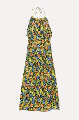 Les Rêveries Floral-print Silk Crepe De Chine Halterneck Midi Dress - Yellow