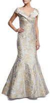 Jovani Cap-Sleeve Bow-Front Embroidered Mermaid Gown