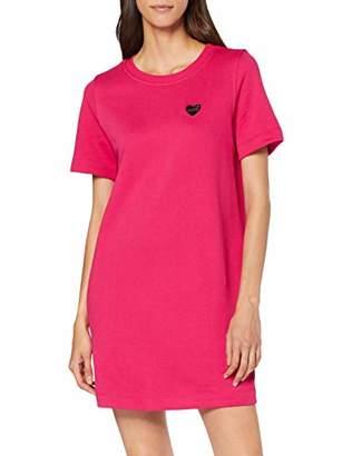 Love Moschino Women's Heart Shaped Badge_Short Sleeve Dress,(Size: 46)