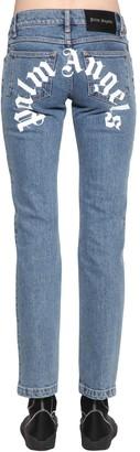 Palm Angels Logo Print Cotton Denim Straight Jeans