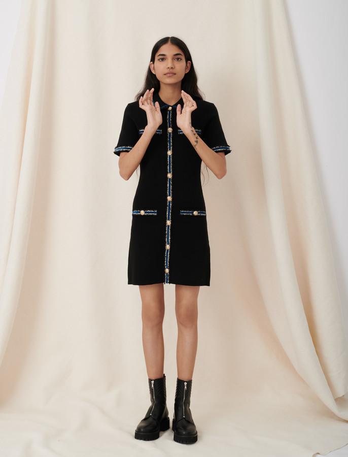 Maje Knitted dress with velvet details