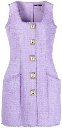 Balmain Button-Embellished Tweed Dress