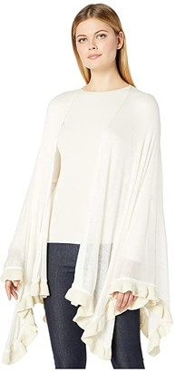 Collection XIIX Lurex Ruffle Knit Topper (Cream) Women's Clothing