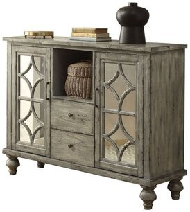 Bungalow Rose Grabowicz 2 Drawer 2 Door Mirrored Accent Chest